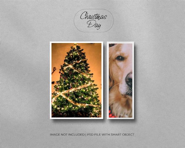 A4-papierrahmen-fotomodell für weihnachten und frohe weihnachten