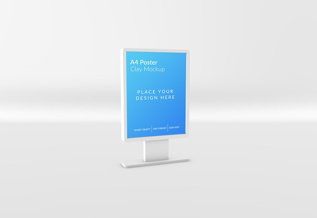 A4 poster mockup in 3d-rendering isoliert