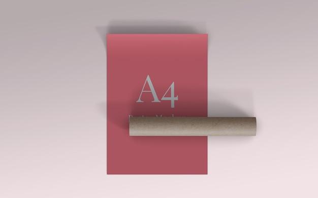 A4 poster modell mit rollkarton draufsicht