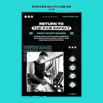 A4-poster-vorlage für die rückkehr zum fitnessstudio