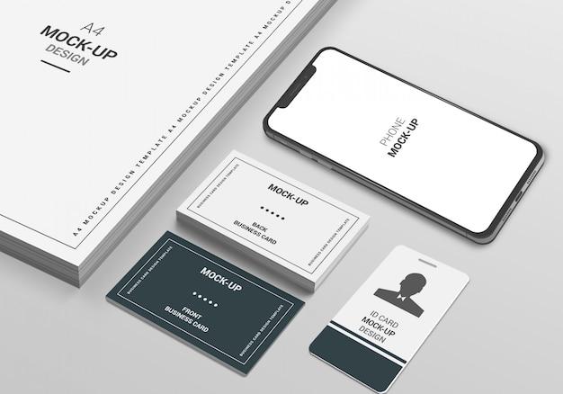 A4 seiten-, telefon- und visitenkartenmodell