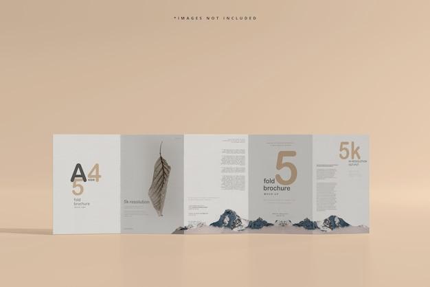 A4 size five fold brochure mockup