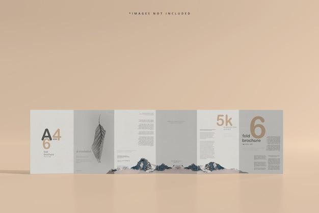 A4 size six fold brochure mockup