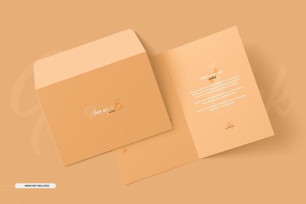 A5 a6 folded invitation card mockup