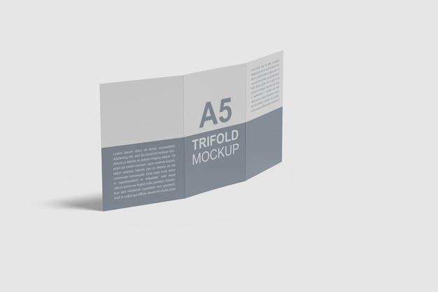 A5 dreifach gefaltetes broschürenmodell