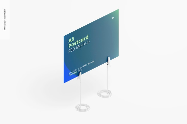 A5 postkarte mit kartenhaltermodell, isometrische ansicht