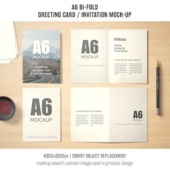 A6 zweifach gefaltete grußkarte mock-up-design