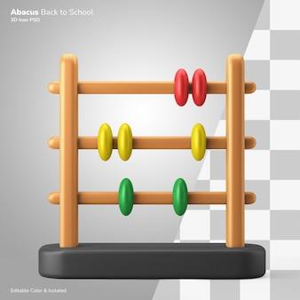 Abakus kinder spielzeug mathe klasse symbol 3d-rendering symbol editierbar isoliert