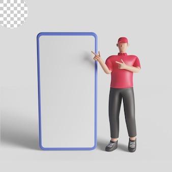 Abbildung 3d eines lieferboten, der ein rotes hemd mit einem intelligenten telefon trägt. premium-psd