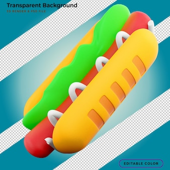Abbildung des würstchens 3d. 3d-rendering von hotdog. 3d-hotdog-symbol