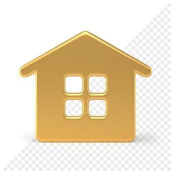 Abbildung goldenes abstraktes haus 3d übertragen. helles minimalistisches design mit fenstern und dach. festliches element weihnachten interieur und schlüsselanhänger. wintersymbol-spaßpartys und -geschenke.