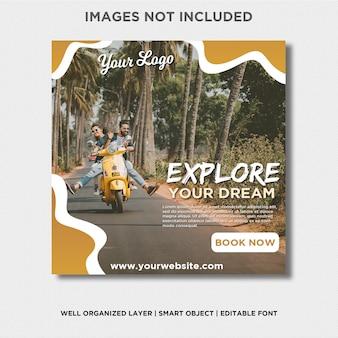 Abenteuer erforschen sie ihren traum instagram banner