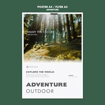 Abenteuer poster vorlage konzept