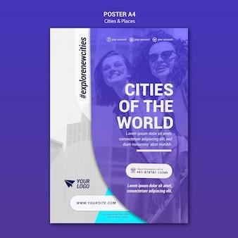 Abenteuerplakatvorlage für städte und orte