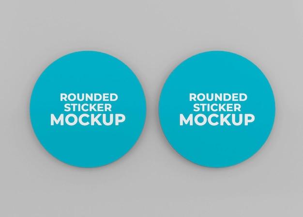 Abgerundetes aufkleber-mockup-design in 3d-rendering isoliert