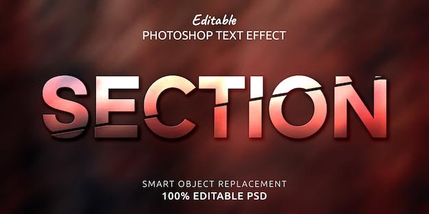 Abschnitt bearbeitbarer photoshop-textstileffekt