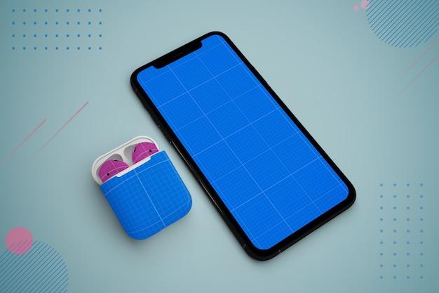 Abstract mobile & earphones mockup