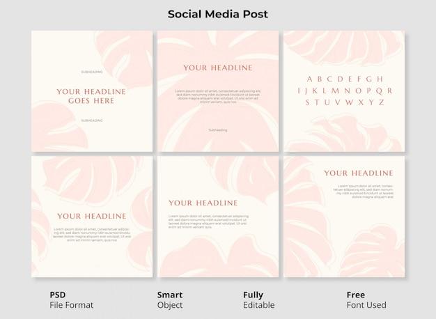 Abstrakte botanische formen instagram post template banner mit vollständig bearbeitbaren psd