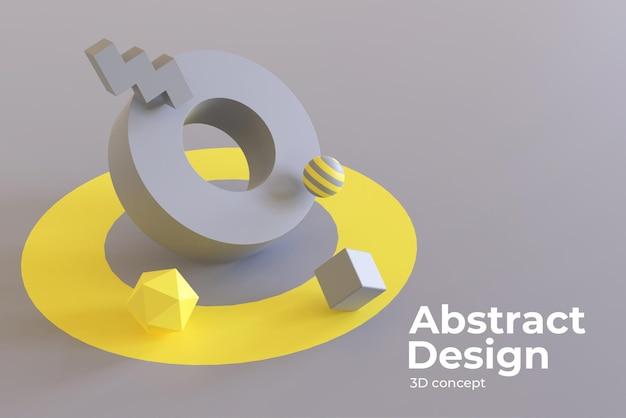 Abstrakte geometrische formen 3d mit farbe des jahres