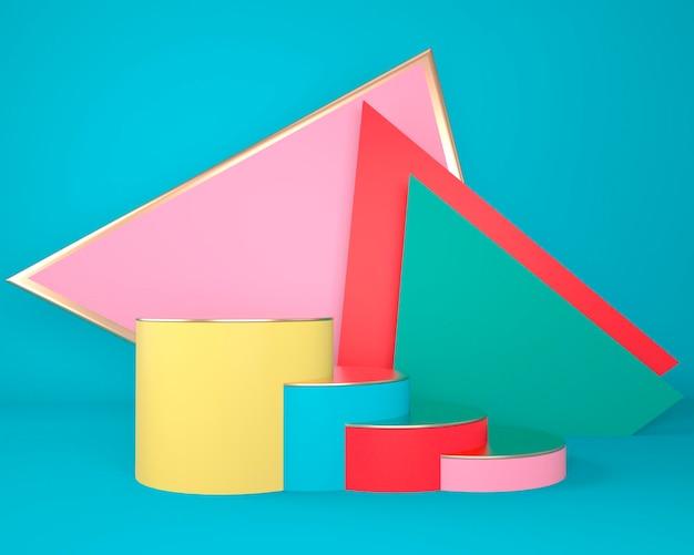 Abstrakte geometrische formen der produktanzeige mit minimalem und modernem konzept 3d-rendering