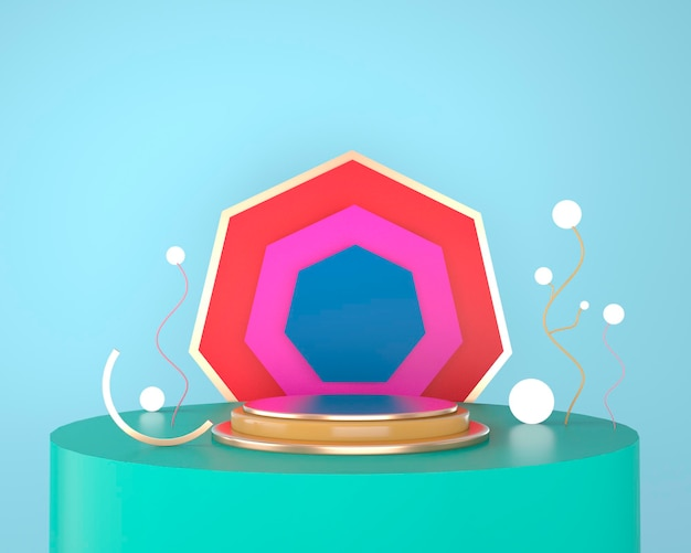 Abstrakte geometrische formen der produktanzeige mit minimalen und modernen konzepten