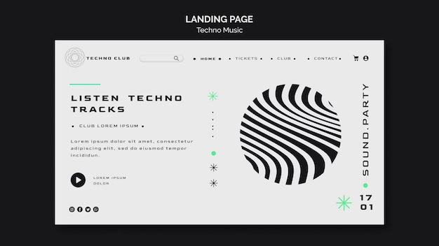 Abstrakte landingpage-vorlage des techno-musikfestivals