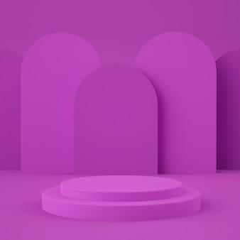 Abstrakte rosa wand mit geometrischem formpodest für produkt. minimales konzept. 3d-rendering