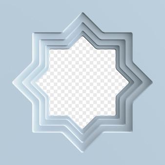 Abstrakte schnitzillustration des islamischen ramadan mit loch in der mitte