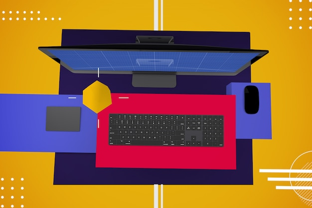 Abstrakter computer pro v.2 mockup