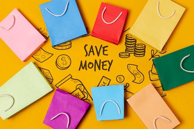 Abstrakter papiertüte-rahmen und sparen geldtext