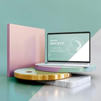 Abstrakter stein und laptop