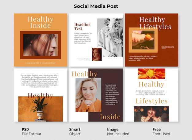 Abstrakter verkauf instagram post banner bearbeitbar mit smart object psd