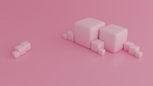 Abstraktes 3d rendern, zusammensetzung der würfel, moderner geometrischer hintergrund
