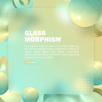 Abstraktes grünes banner mit unscharfem glasmorphismuseffekt und 3d-renderobjekt