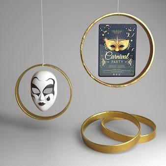 Abstraktes konzept der maskierten karnevalsparty und der goldenen ringe