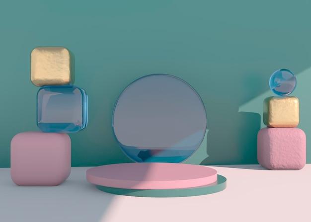Abstraktes leeres podium mit schatten. mock-up-ständer für die produktpräsentation. 3d-rendering. minimales konzept. produkt anzeigen.
