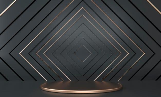 Abstraktes podium 3d mit geometrischen formen