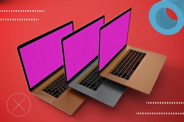 Abstraktes schwebendes laptop-modell