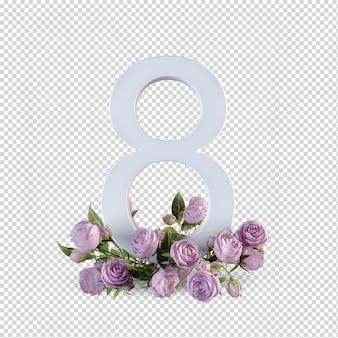 Acht buchstaben mit rosen 3d rendering isoliert