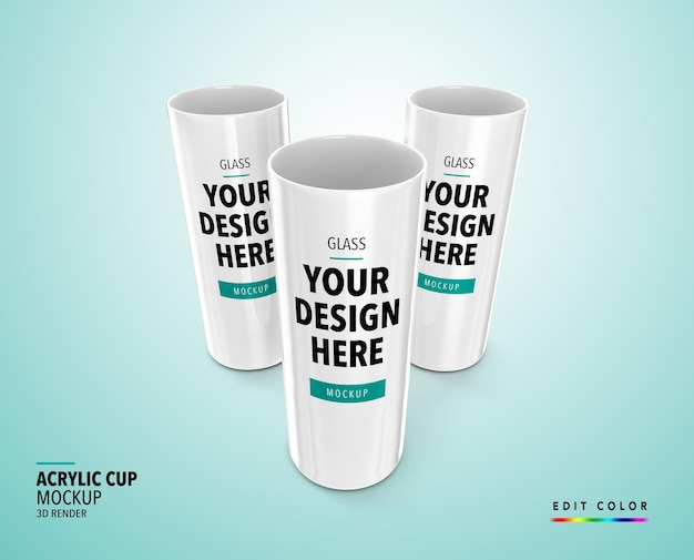 Acryl cup mockup 3d machen realistisches longdrink