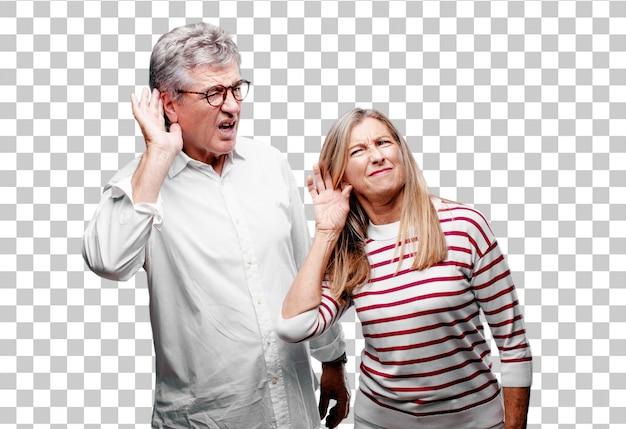 Älterer kühler ehemann und frau, die aufgepasst werden
