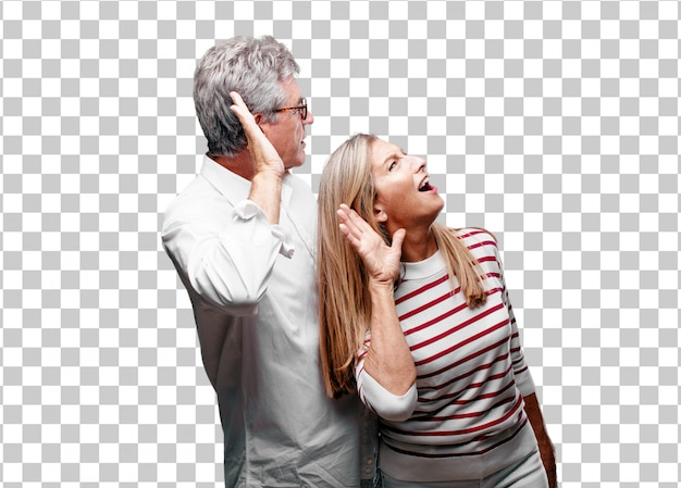 Älterer kühler ehemann und frau, die aufgepasst