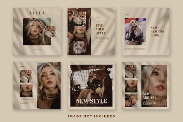 Ästhetische mode social media post banner vorlage bundle für die förderung