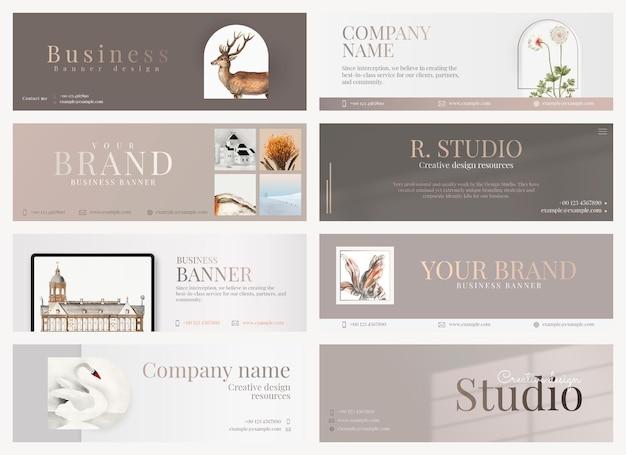 Ästhetisches business-banner-psd-bearbeitbares design in minimaler form für die sammlung von kunstunternehmen