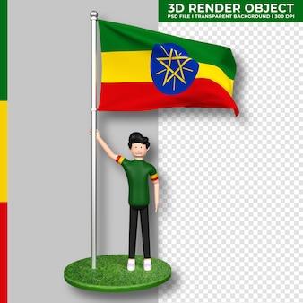 Äthiopien-flagge mit niedlichen menschen-cartoon-figur. tag der unabhängigkeit. 3d-rendering.