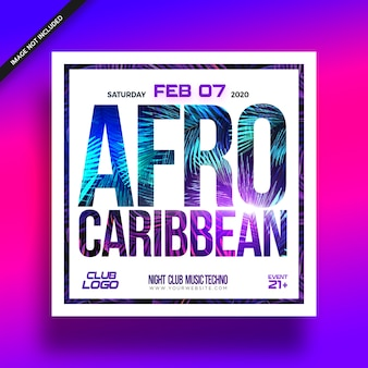 Afro caribbean music fest event flyer