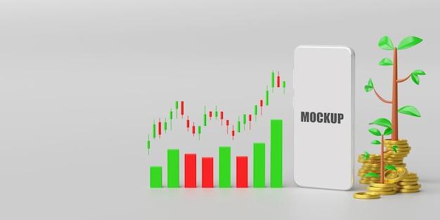 Aktien- und devisenhandel auf dem 3d-modell des smartphones Premium PSD