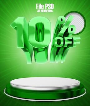 Aktion 10 rabatt auf grünes 3d-rendering-banner