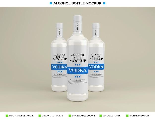 Alkohol-wodka-flaschenmodell im getränkekonzept