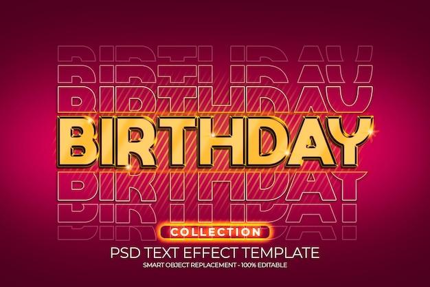 Alles gute zum geburtstag 3d-gold-texteffekt mit rotem farbhintergrund